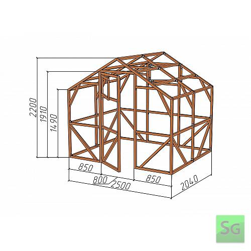 "Каркас деревянный ""ДОМИК"" 2,5х2м., под теплицу:  Каркас деревянный  ДОМИК  2,5х2м., под теплицу"