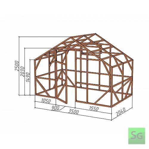 "Каркас деревянный ""ДОМИК"" 3,5х2м., под теплицу:  Каркас деревянный  ДОМИК  3,5х2м., под теплицу"